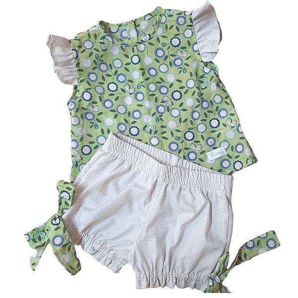 Conjunto camisa e short floral verdinho
