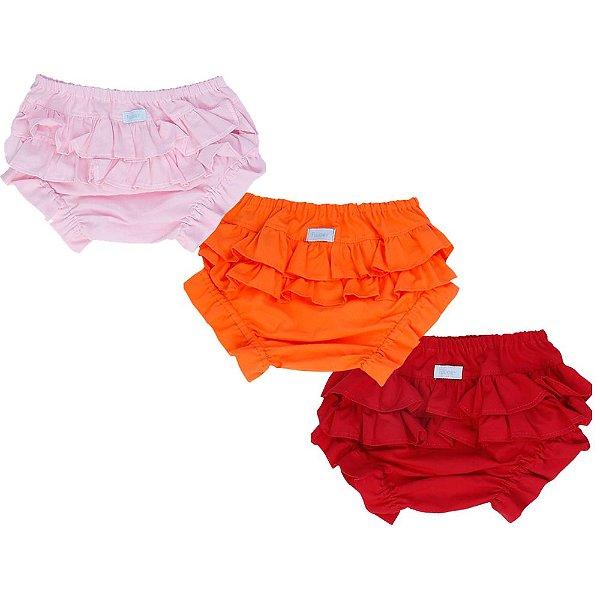 Kit promocional calcinha tapa fralda rosa bebê, vermelha e laranja