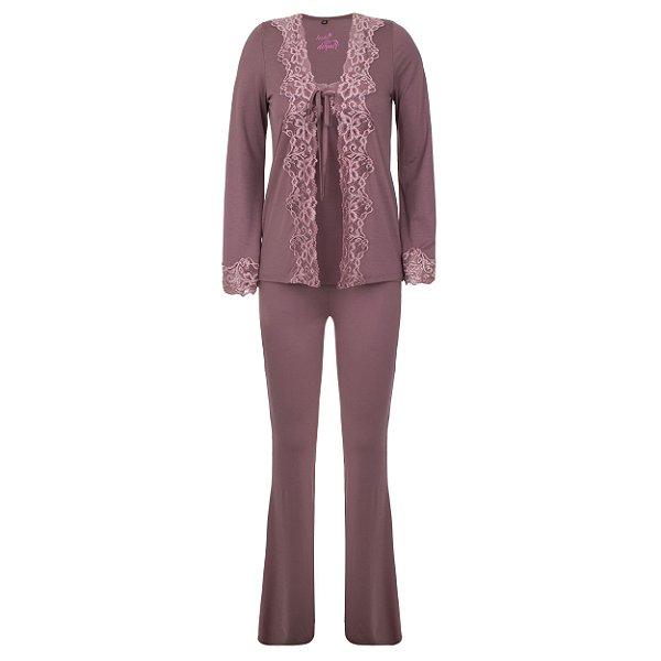 Conjunto Pijama Adulto Rosa Vintage