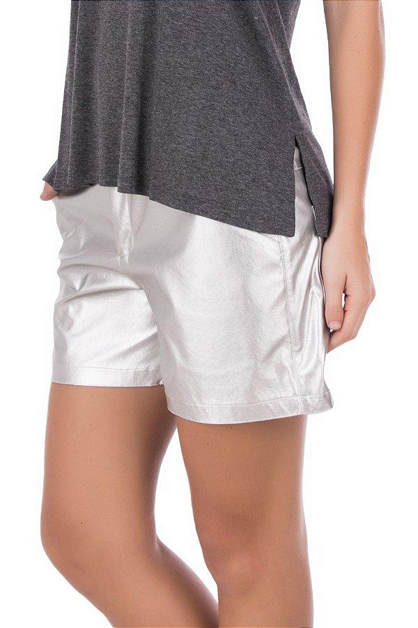 Shorts Metalic Prata