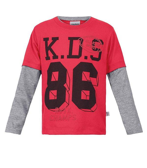 b752b99bd Camiseta Infantil Manga Longa Masculina Vermelha e Cinza Rovitex Kids