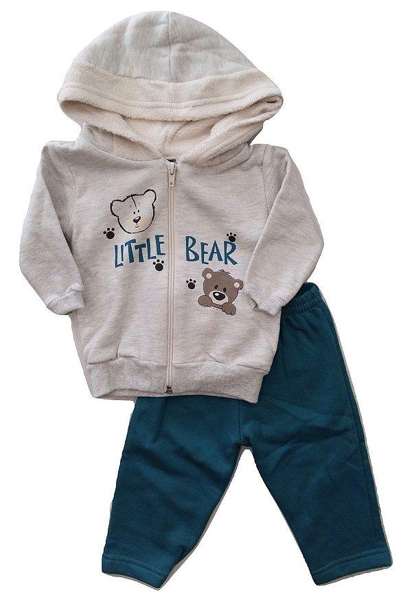 cc7b8b093913e9 Conjunto com Casaco de Capuz e Calça Verde para Bebê Masculino Kiko e Kika
