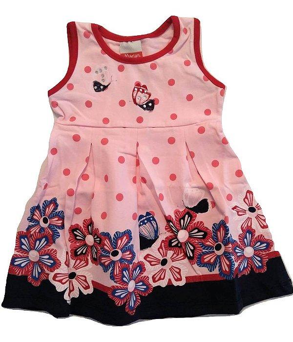 Vestido Regata Rosa Para Bebe Com Estampa Floral E Borboletas Marlan