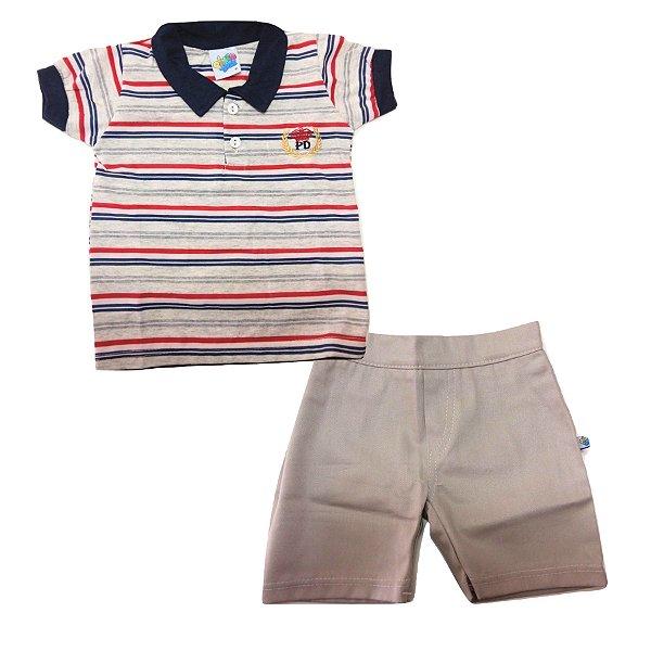 1b73ed0498 Conjunto Camisa Polo Listrada com Bermuda em Tecido para Bebê Pingo Doce