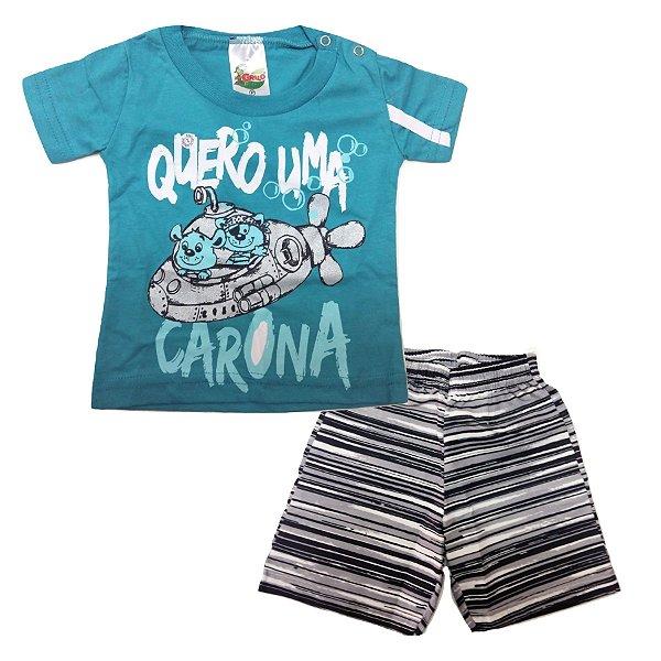 b85450d5e147a Conjunto Camiseta Manga Curta Azul e Bermuda Tactel Listrada para Bebê  Grilo Malhas