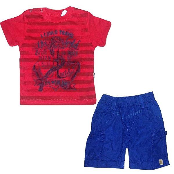 d4997bb69 Conjunto Camiseta Listrada Vermelha Estampa Âncora e Bermuda Cargo Azul  para Bebê Rovitex Kids