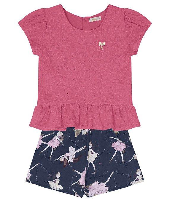 5a9a85a0aff0 Conjunto Infantil Blusa Cropped com Short Bailarinas Rosa e Marinho Trick  Nick