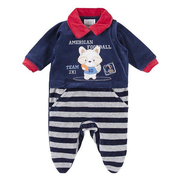557c5f3137 Macacão Longo para Bebê Menino em Plush Bordado Raposa Football Baby Gijo