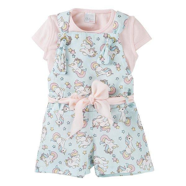 23f6ca864 Conjunto Jardineira Infantil com Estampa Unicórnio e Camiseta Rosa Color  Mini