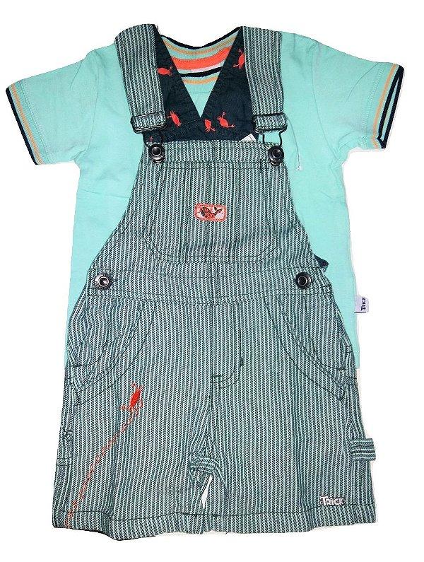 d89de5f1e7 Conjunto Jardineira Infantil com Camiseta Verde para Menino ...