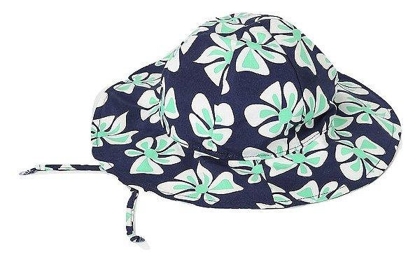 4751f1d382 Chapéu de Praia com Proteção UV Estampa Floral Havai Azul e Verde Ecobabies