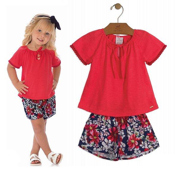 1531069874 Conjunto Infantil com Blusa Vermelha e Short em Tecido Floral Up Baby