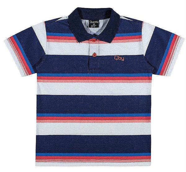 71689db4089a3 Camisa Gola Polo Infantil Listrada em Meia Malha Quimby