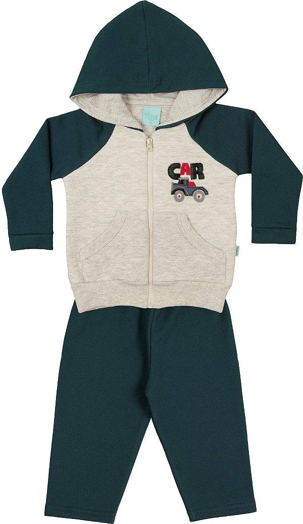 4ac7a6a78d1f1f Conjunto de Moletom para Bebê com Casaco de Capuz Bordado com Carrinho e  Calça Kiko e Kika