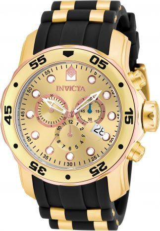Relógio Invicta Pro Diver 17884 Banhado Ouro 18k Cronografo 48mm Dourado