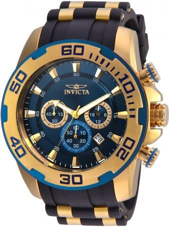 Relógio Invicta Pro Diver 22341 Cronografo Banhado Ouro 18k Azul 50mm