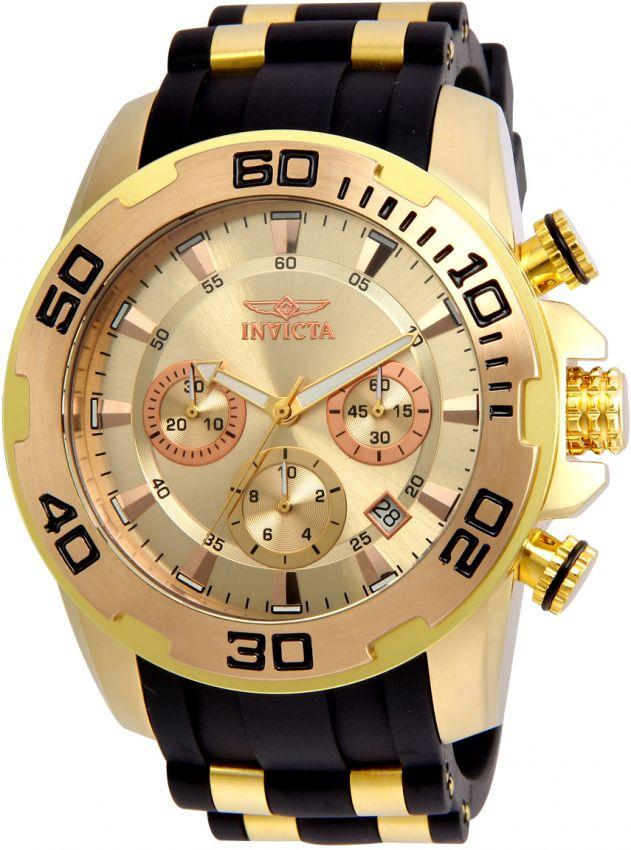 Relógio Invicta Pro Diver 22342 Cronografo 50mm B. Ouro 18k Pulseira Preta