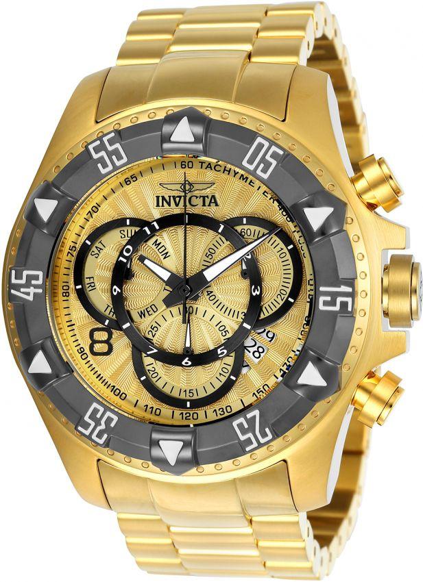 Relógio Invicta Excursion Reserve 24266 Banhado Ouro 18k Cronografo 52mm