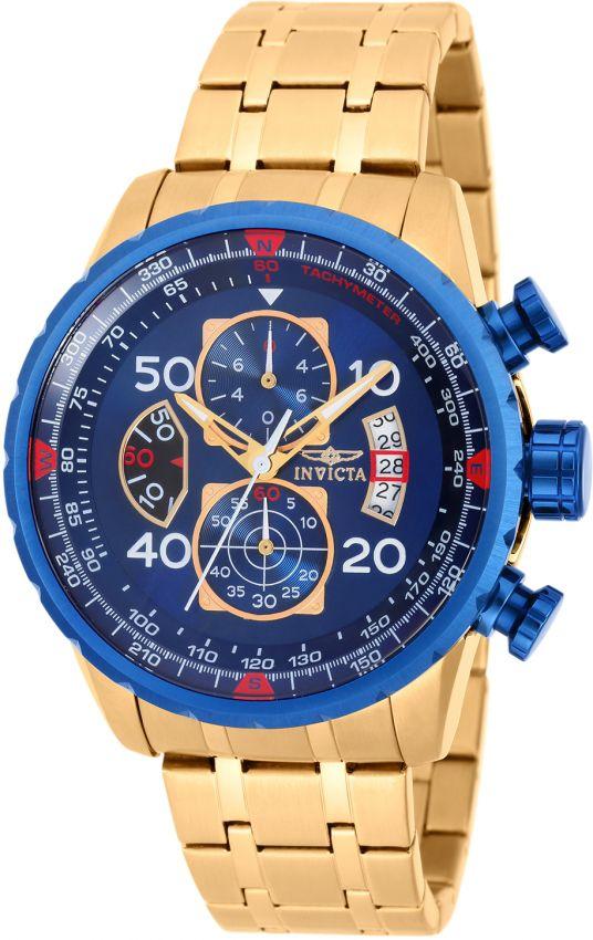 Relógio Invicta Aviator 19173 Cronografo 48mm Banhado Ouro 18k VD57