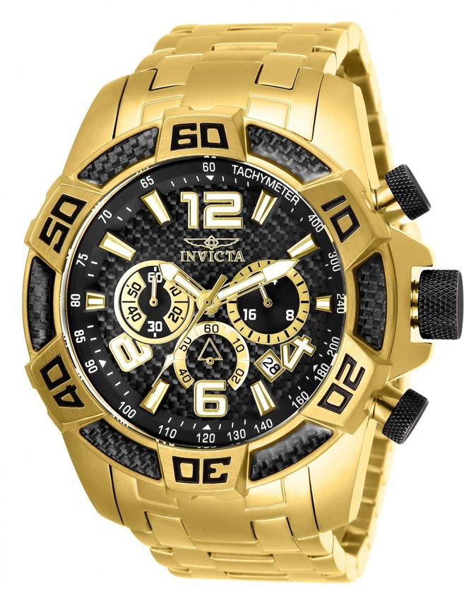 Relógio Invicta Pro Diver 25853 Cronografo 50mm Banhado Ouro 18k