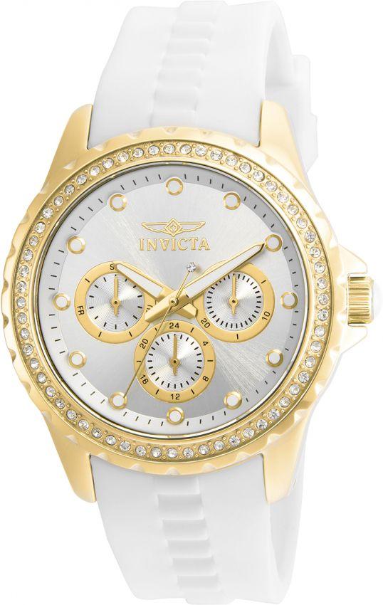 Relógio Invicta Feminino Angel 21900 Calendário Triplo Banhado Ouro 18k