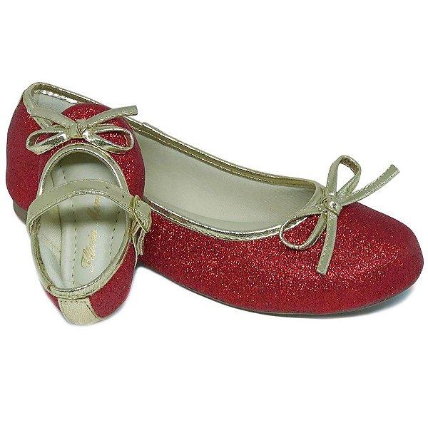 16d55e2caa Sapatilha Mãe e Filha Glitter Vermelha Comfort com Lacinho - Atacado ...