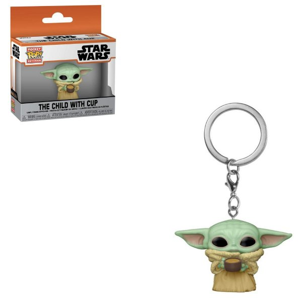 Chaveiro Funko Pocket Star Wars Baby Yoda Child c/ Copo