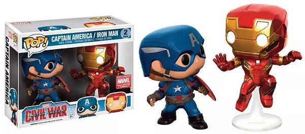 Funko Pop Marvel Civil War 2-Pack Captain America & Iron Man Exclusive