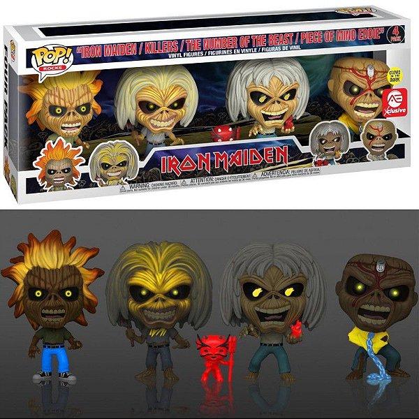 Funko Pop Iron Maiden Eddies Exclusive 4 Pack GITD