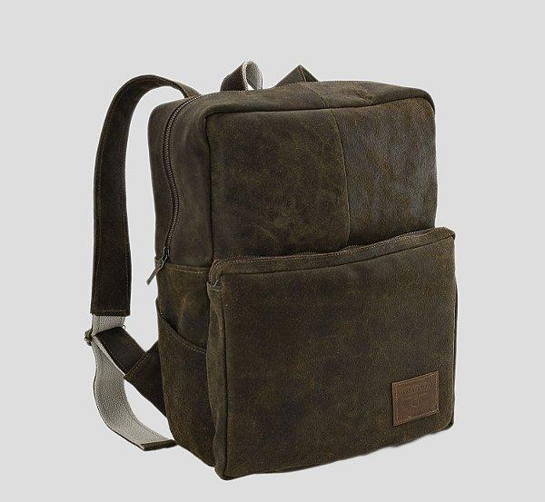Mochila de couro legítima porta notebook masculina executiva bolso externo Londres - Estonado - Tamanho M