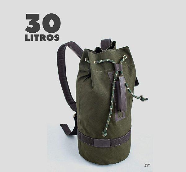 Mochila tubular em couro legítimo e lona masculina para academia e camping Roma - Verde - Tamanho M