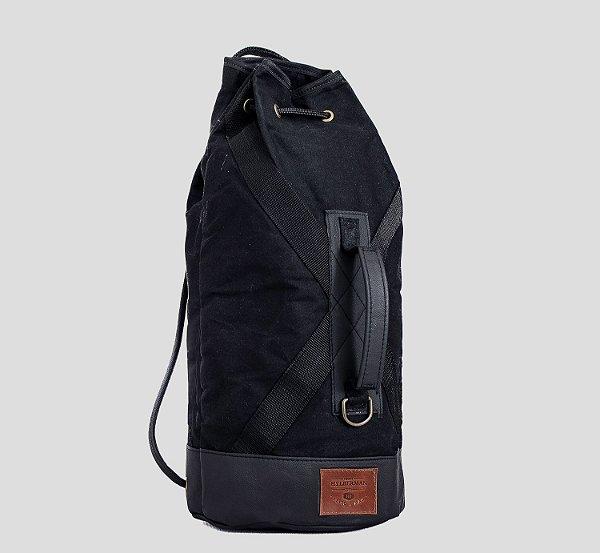 Mochila tubular em couro legítimo e lona masculina para academia e camping Rota 66 - Preta - Tamanho M