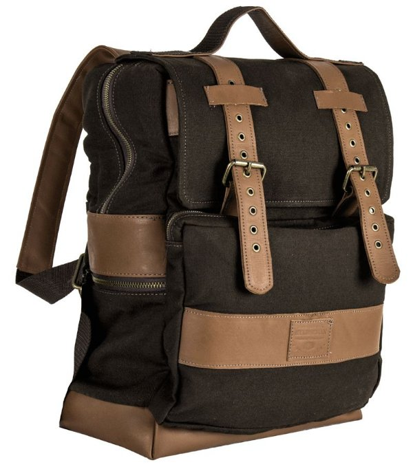 ochila em couro legítimo e lona porta notebook masculina executiva bolso externo Malbec - Marrom - Tamanho M