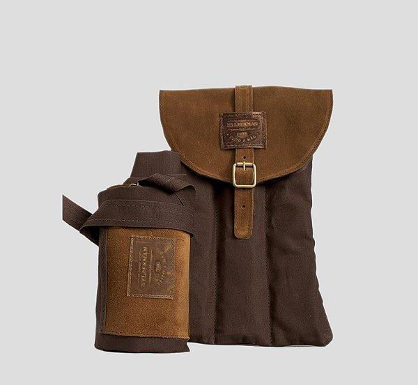 Kit Avental em Couro e Lona com Bolsa Porta Acessórios Churrasco