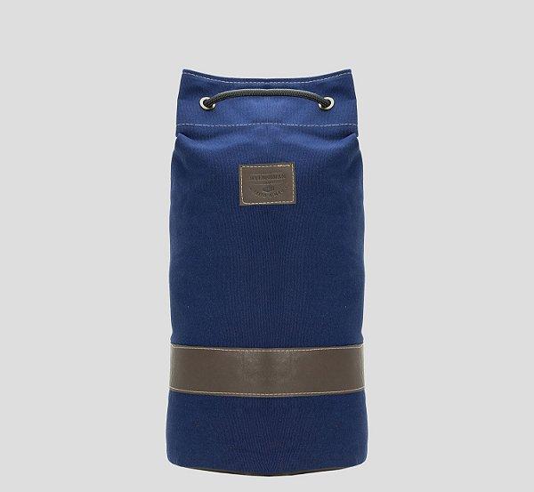 Mochila tubular em couro legítimo e lona masculina para academia e camping Billy - Azul - Tamanho M