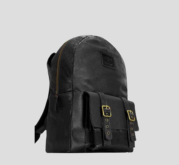 Mochila de couro legítima porta notebook masculina executiva bolso externo Denver - Preta - Tamanho M