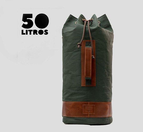 Mochila tubular em couro legítimo e lona masculina para academia e camping Bigbag - Verde - Tamanho G