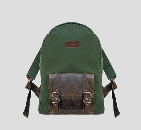 Mochila em couro legítimo e lona porta notebook masculina executiva bolso externo Amazonas - Verde - Tamanho M