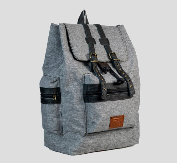 Mochila em couro legítimo e lona masculina executiva 3 bolsos externo Cairo - Cinza - Tamanho M