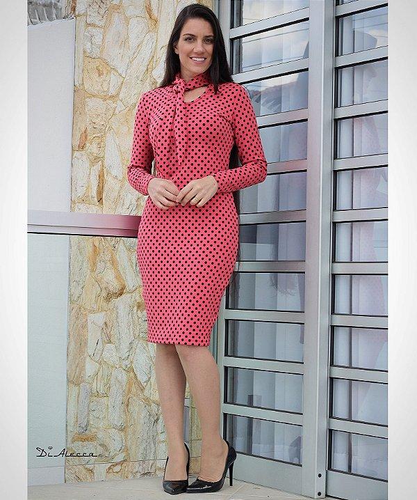 b6d107e3f Vestido Tubinho Manga Longa Gola Laço Poás - Di Alecca Moda Evangélica