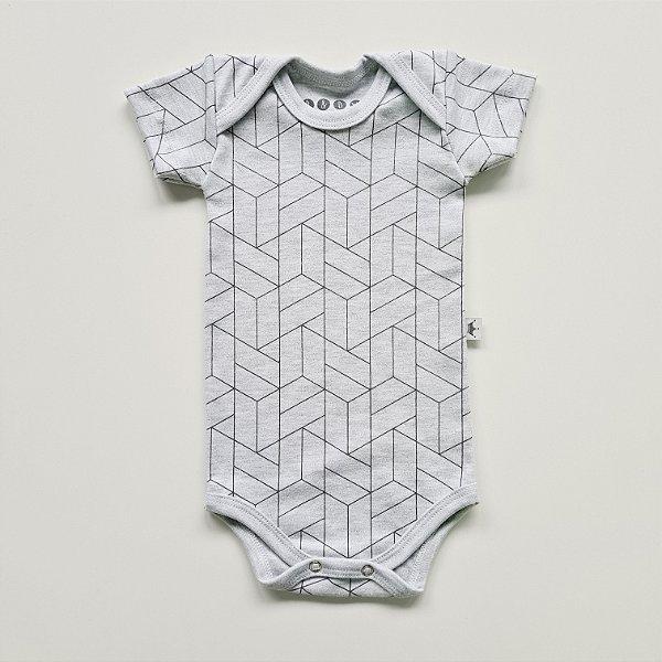 Body Manga Curta Geométrico Mescla