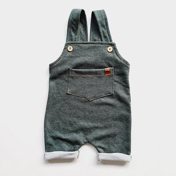 Jardineira Curta Jeans Verde