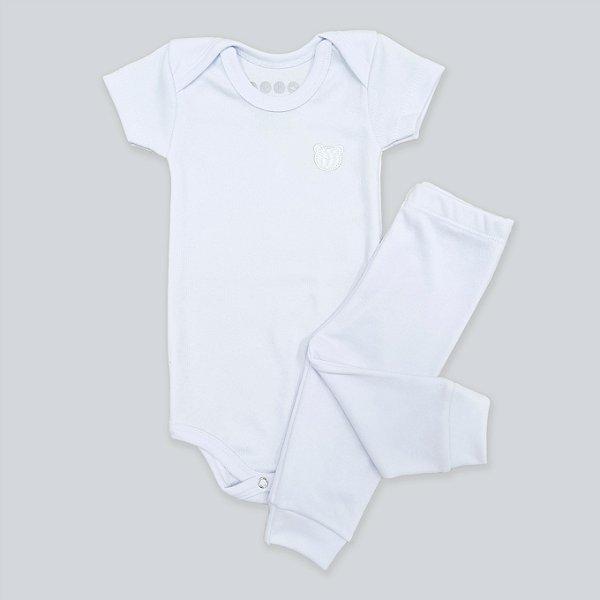 Conjunto Body Manga Curta e Calça Canelado Branco