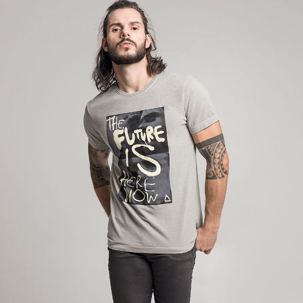 CAMISETA STONE THE FUTURE CINZA CLARO