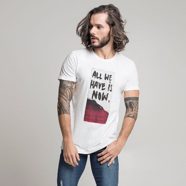 CAMISETA STONE ALL WE HAVE IS NOW BRANCO