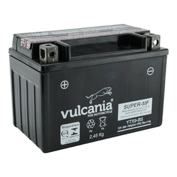 Bateria Vulcania YTX9-BS 8Ah Burgman 400 CB500 XT 600 Shadow