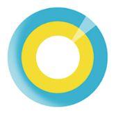 Lente de contato AMARELA com borda AZUL - VOCALOID