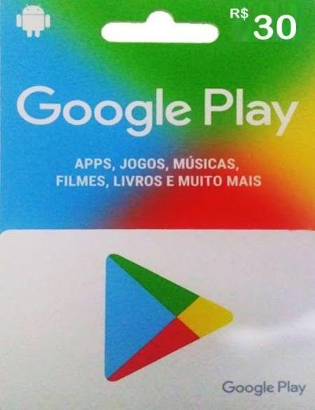 Cartão Presente Google Play R$ 30 Reais