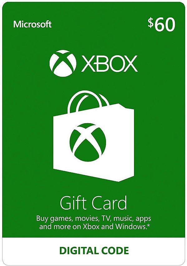 Cartão Xbox $60 Dólares Xbox USA