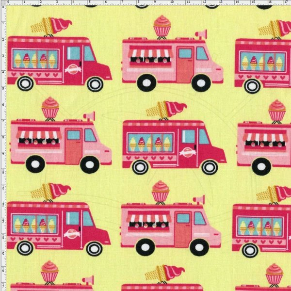 Tecido Círculo Food Truck Doce  0,50cm x1,46cm